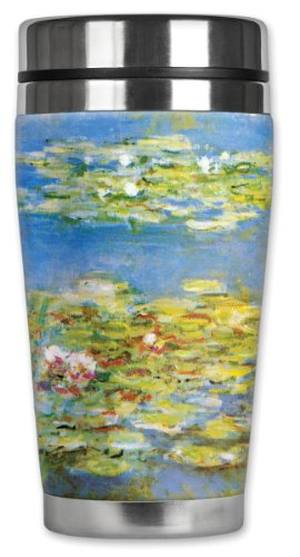 Mugzie Monet Water Lilies Travel Mug with Insulated Wetsuit Cover, 16 oz, Black