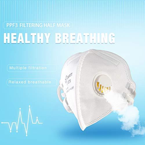 AOSANITY FFP3 Atemschutzmasken mit Luftventil – EN 149: 2001 + A1: 2009 Zertifiziertes, mehrschichtiges System mit hoher Filtrationskapazität Zusätzlicher Komfort und Sicherheit (10er-Pack) - 7