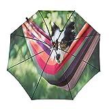 Perros en hamaca divertido viaje paraguas plegable portátil compacto ligero diseño automático y alta resistencia al viento