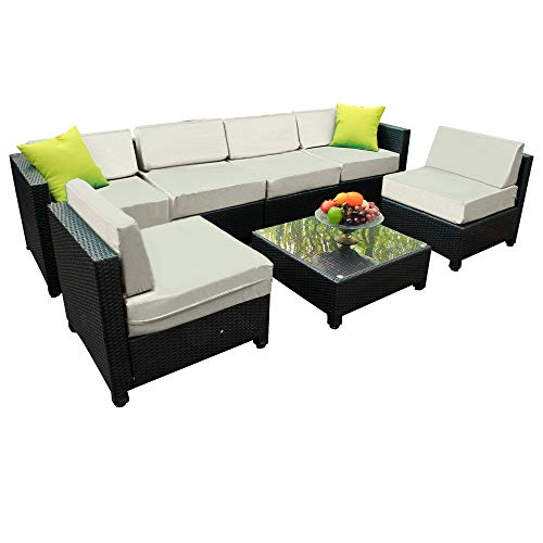 Mcombo Aluminum Outdoor Sectional Patio Wicker Furniture Set,7 Pieces Rattan Conversation Sofa Set with Cushions and Coffee Table (Aluminum Frame) 6080-1007