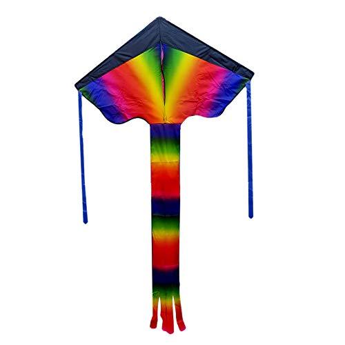 HSD Drachen Flugdrachen Einleiner, Easy Flyer Regenbogendrachen Bastelset für Erwachsene Leichtes Fliegen im Freien bei starkem oder leichtem Wind Kinder ab 3 Jahren