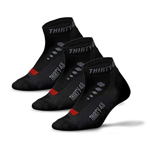 Thirty48 Calcetines de ciclismo de corte bajo para hombre y mujer, unisex, transpirables, calcetines deportivos (Large - Women 9-12 // Men 8-11, [3 pares] negro/rojo)