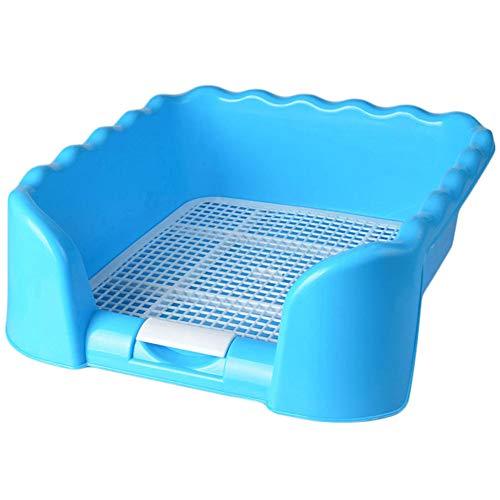 PiniceCore 1pc Azul Mascota portátil WC cercado Bandeja de Rejilla Caja de Arena del Entrenamiento del Perro Aseo para Mascotas de tamaño pequeño Suministros Potty Media
