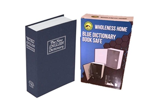 Book Safe and Personal Lock Box – Blue Dictionary Safe for Money Guns Jewelry RV 2 Keys for Locked Diversion Safe by Wholeness Home