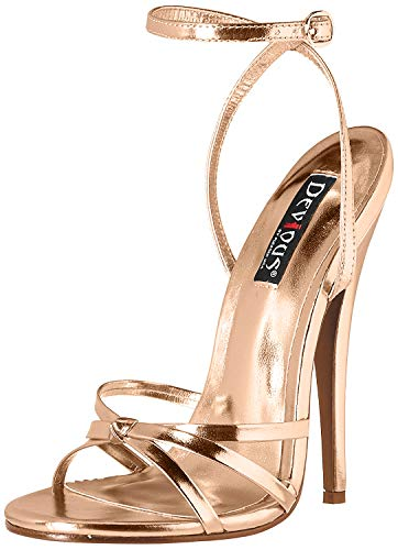 Pleaser Damen DOMINA-108 High Heels Sandalette PU Rose Gold 46 EU