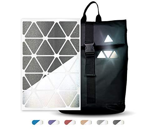 reflexsticker in metallic-matt Edition – versch. Motive und Farben – selbstklebende Reflektoren-Aufkleber – Bogenmaß L (16 x 10,5 cm) - für Textilien, Kleidung, Ranzen, Helme etc (Motiv #13, schwarz)