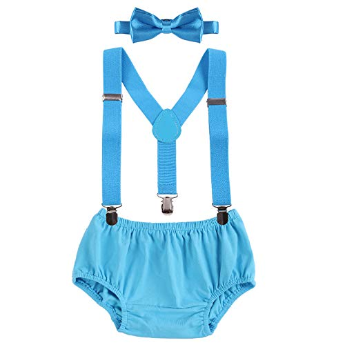Baby Boys Cake Smash Outfit First Birthday Bloomers Bowtie Suspenders Clothes set Sky Blue One Size