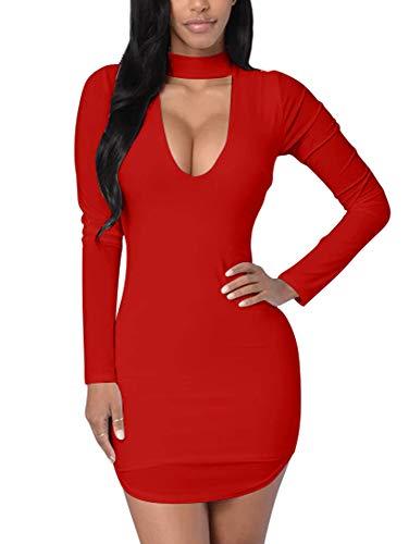 TOB Women's Sexy Bodycon Long Sleeves Cut Out Front Choker Hem Club Mini Dress Red