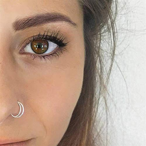 Eleusine Stainless Steel Nose Rings,Moon Nose Ring Hoop,Nose Nail Surgical Steel Septum Ring Cartilage Body Piercing Jewelry