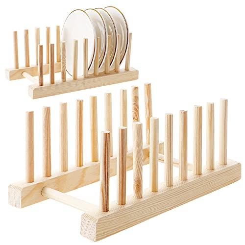HonGien 2 piezas, estante de madera, escurridor, estante de secado, organizador de armario de cocina (8 cuadrículas) apto para almacenamiento de CD, vajilla, libro, copa de vino