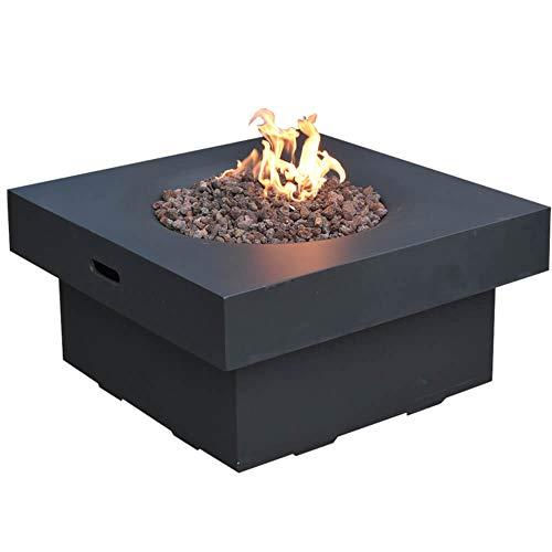 Kaminlicht Gas-Feuertisch Branford aus Faserbeton, Garten Terrasse, Quadratisch