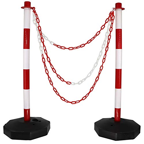 Safety Barriers with Chain (Set of 2),35'' Expandable Traffic Barrier with Portable Assemble Stanchion Fillable 10lb Base,Traffic Cones for Delineator Poles, Road Marking or Car Parking