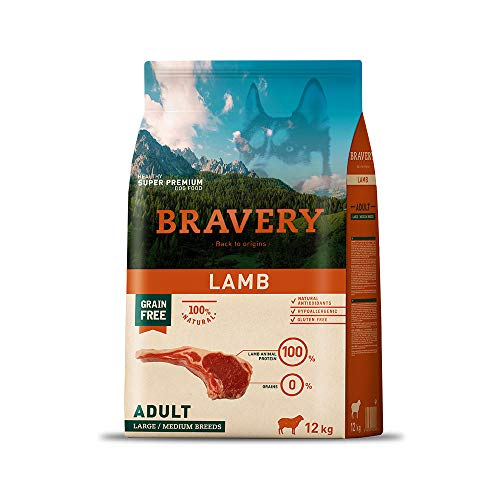 Bravery CROCCHETTE Agnello Cane Adulto Taglia Medium - Large - 12 kg - MONOPROTEICO,IPOALLERGENICO, 100% Naturale, 100% CRUDELITY Free