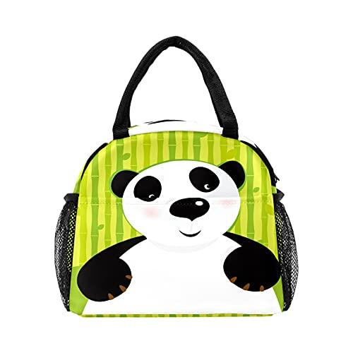 Bolsa de almuerzo de bambú verde con diseño de panda de dibujos animados divertida para las mujeres con aislamiento personalizado reutilizable caja de almuerzo térmica para el trabajo Picnic