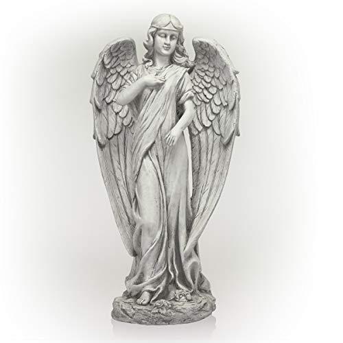 Alpine Corporation QFC104 Angel Statue Outdoor Garden, Patio, Deck, Porch-Yard Art Decoration, 31-Inch Tall, White