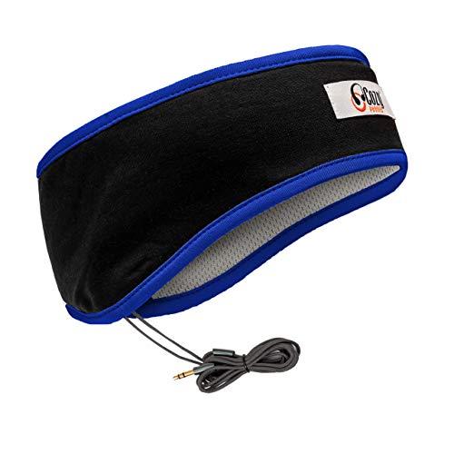 CozyPhones Slaap Hoofdtelefoon & Reistas, Lycra Cool Mesh Voering en Ultra Dunne Luidsprekers. Perfect voor slapen, sporten, luchtreizen, meditatie en ontspanning - ZWART, Blauw