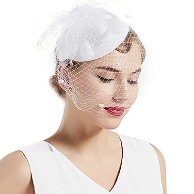 BABEYOND Tea Party Fascinator Hat Pillbox Hat Fascinator Veil Derby Hat Headband