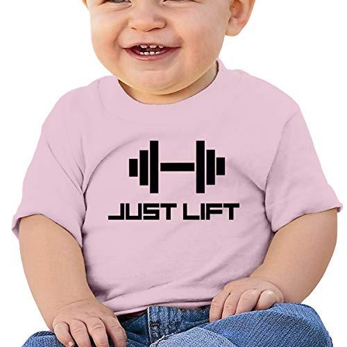Camiseta Huahai de manga corta para niño, con texto en inglés 'Just Lift Gym Boys al aire libre, rosa, 12M