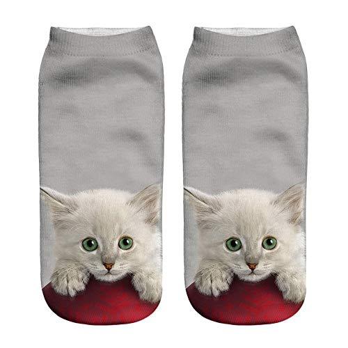 SHE.White Herren Damen Socken 3D Tier Drucken Mittel Sport Socken Unisex Kuschelsocken Lustige Socken Weihnachtssocken Halbsocken Sportsocken Füßlinge Socke,Viele Farben