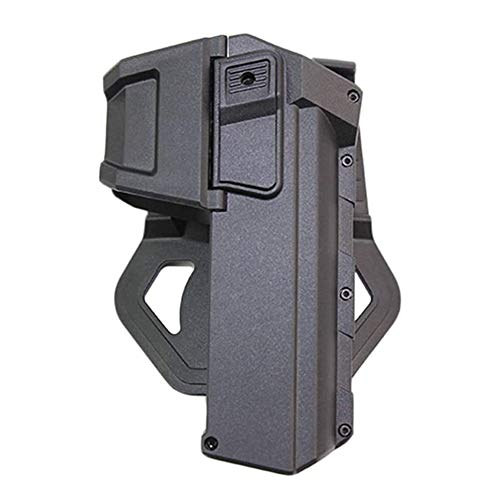 D&XQX Funda Táctica, Pistola De Cintura, Holster, Ocultamiento Militar Movable Pistola Airsoft Holsters para Glock 17 18 con Linterna O Funda Montada por Láser, Mano Derecha,Negro