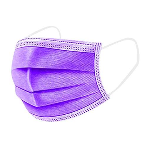 100 STK Einmal-Mundschutz,mundschutz einweg, Dreischichtige Einweg Mund und nasenschutz, mundschutz Erwachsene,Atmungsaktive und komfortable elastische Ohrmuscheln Gesichtsschutz (lila-2)