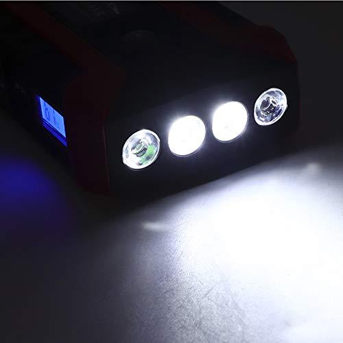 Banco del poder del coche, arrancador multifuncional del salto del coche 20000mAh, con 4 luces LED, banco del poder 12V 110V-240V(Blue)