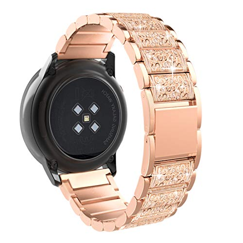 TiMOVO Armband Kompatibel mit Galaxy Watch 42mm/Gear S2 Classic/Galaxy Watch Active/Active 2 Forerunner 245/Vivoactive 3, Edelstahl Uhrenarmband Ersatzarmband Handgelenk Band Werkzeug - Rose Gold
