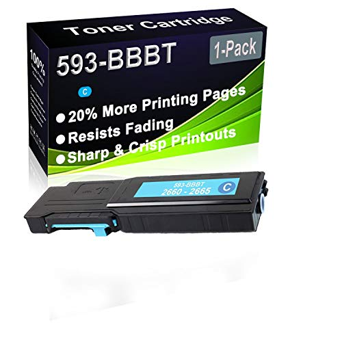 1-Pack (Cyan) Compatible C2660, C2660dn, C2665dnf Laser Toner Cartridge (High Capacity) Replacement for Dell 593-BBBT (488NH) Printer Toner Cartridge