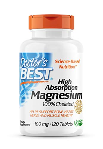 Doctor's Best, High Absorption Magnesium, 100 mg, 120 vegan Tablets, soy-free, gluten-free