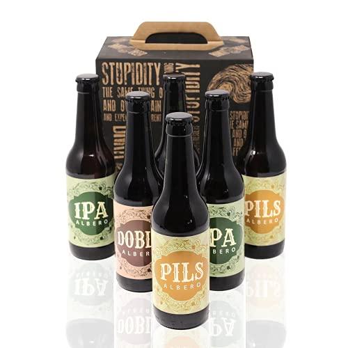 Pack Cerveza Artesana x6. IPA + Pils + Doble Malta. Regalo perfecto. Cervezas Albero.