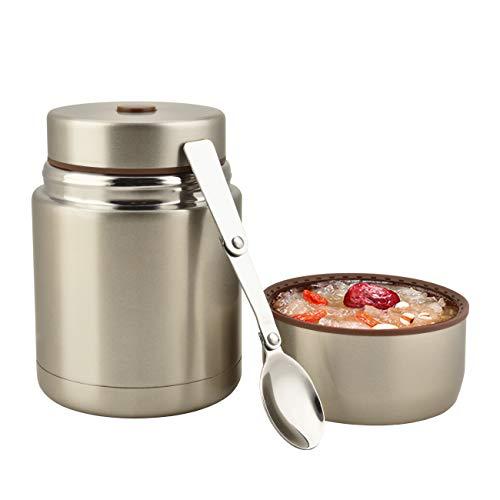 Eluck Contenitore termico per cibo, grande capacità, 800 ml, in acciaio inox, con cucchiaio, senza BPA (champagne)
