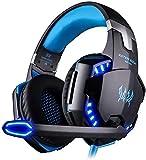 easysmx casque gaming pour pc, casque gamer casque de jeu audio anti-bruit filaire avec micro led