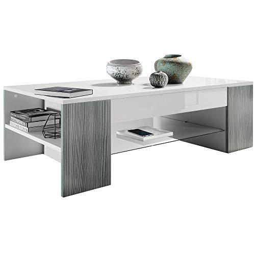 Vladon Coffee Table Side Table Clip in White with Offsets in Avola-Anthracite