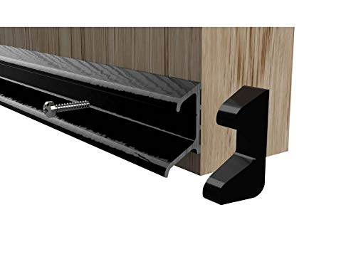 Stormguard Double Fin Door Rain Deflector Seal Water Weather Bar Drip Board UPVC Timber 914mm (Black)