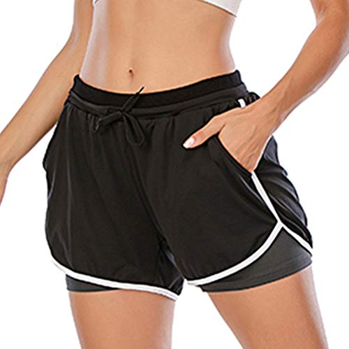 SAITI Women Running Shorts 2-in-1 Double Layer Sports Shorts with Pockets High Waist Quick Dry Gym Workout Shorts Black
