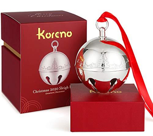 Koreno 2020 Christmas Silver Sleigh Bell Ornaments, Annual Christmas Holly Bell for Christmas Tree Decorations Anniversary Holiday Keepsake with Ribbon & Gift Box