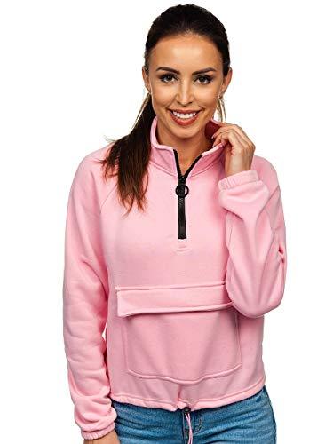 BOLF Mujer Sudadera Cerrada Básica Suéter Cuello Elevado Blusa Sudadera de Algodón Estilo Deportivo J.Style KSW2032 Rosa XL [A1A]