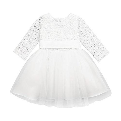 iEFiEL Baby Mädchen Kleidung Langarm Taufkleid Spitzen Partykleid Blumenmädchen Kleid 1. Geburtstag Kleider Kurzarm Outfits 3-24 Monate Elfenbein 80