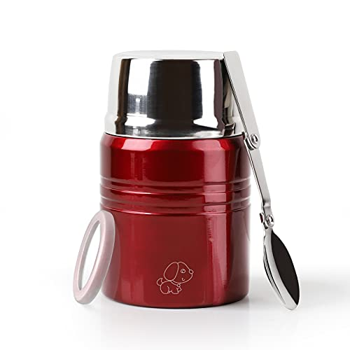 XIAPIA Boîtes Alimentaires Isotherme 500 ml/750 ML Thermos Alimentaires Chaud avec Cuillère Contenant Isolant Inoxydable Gamelle Thermos Isotherme Repas Chaud pour École, Bureau (Rouge, 500ml)