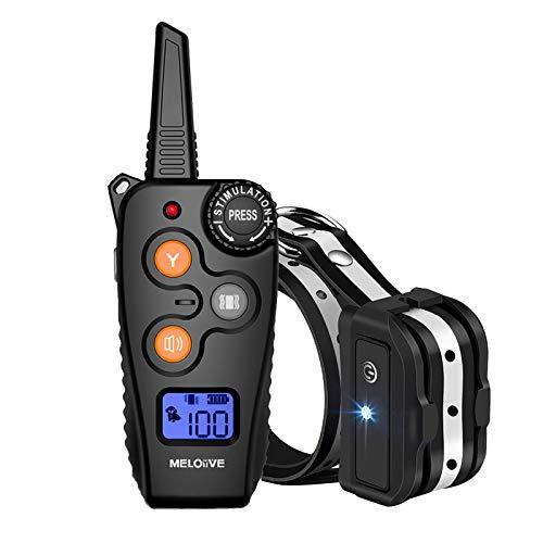 Meloive Collar Recargable para adiestramiento de Perros, Modo de protección contra Accidentes y diseño de señal de dial Giratorio,Control de Distancia de 800m con Modo de vibración y Sonido -IPX67