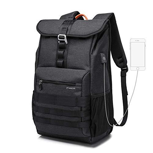 Rucksack Damen Herren Wasserdicht Multifunktionsrucks Schwarz Laptop Rucksack USB Anschluss Schulrucksack Damen für 15,6 Zoll Notebook und 9.7 Zoll iPad