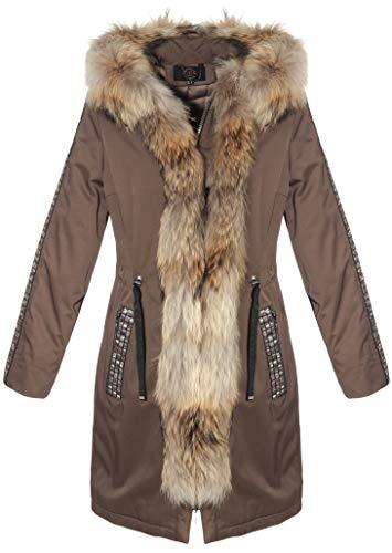 Hollert dames bontmantel Amanda Parka winterjas met capuchon afneembare echt bont