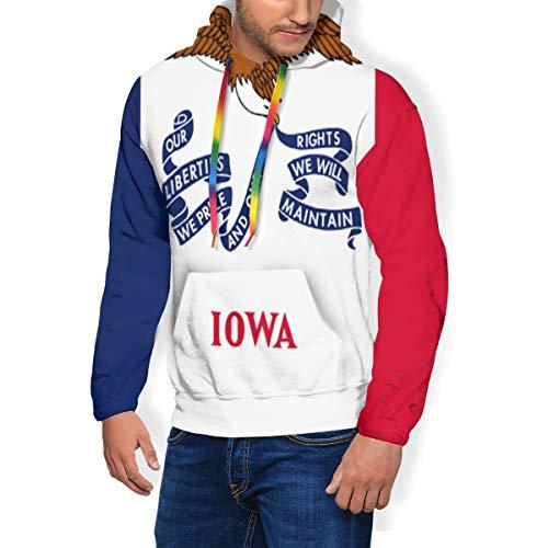 HZamora_H Iowa State Flag Men's Thick Hoodie Winter Sweatshirts Comfy Long Sleeve Jacket Black