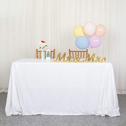 Tovaglia quadrata bianca, 152,4 x 259,1 cm, rettangolare, per matrimonio, con paillettes, tovaglia unica per feste e feste, colore: bianco, 150 x 260 cm