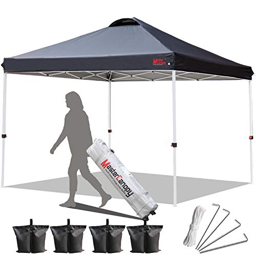 MASTERCANOPY 10x10 Pop up Canopy Portable Shade Instant Folding Better Air Circulation Canopy with Wheeled Bag (Black)