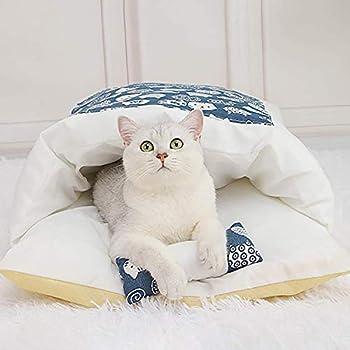 TAMRG lit pour Chat Panier Chat Sac de Couchage pour Chat avec Petit Oreiller Couchage et mobilier pour Chats 55*40cm (Style 1)