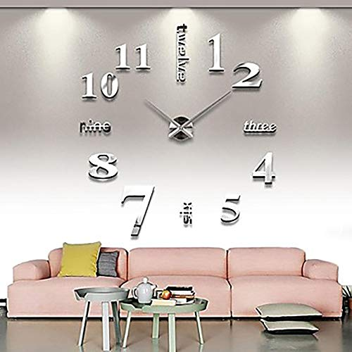 QCSMegy Frameless Large DIY Wall Clock, Modern 3D Wall Clock with Mirrored Numbered Stickers for Home Office Decoration Gifts