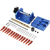 TOKTOO Pocket Hole Jig Kit with Build-in Clamp and Scale, Heavy Duty, All-In-One Aluminum Pocket Hole Jig Set, 3 Holes Woodworking Angle Drilling Guide for Joinery Carpentry Projects - Blue