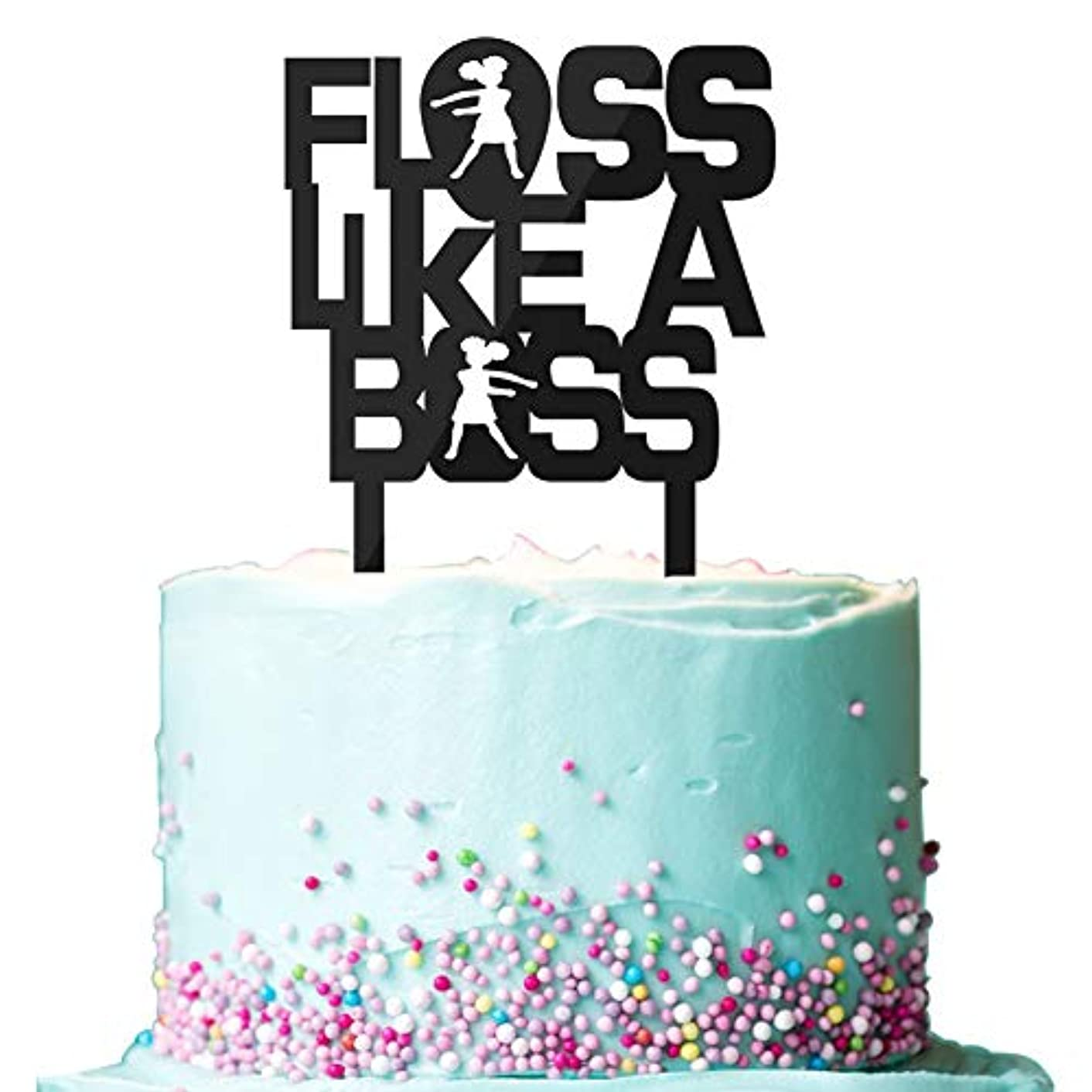 Floss Like A Boss Cake Toppers for Girls, Video Game Floss Dance Birthday Cake Decoration Party Supplies