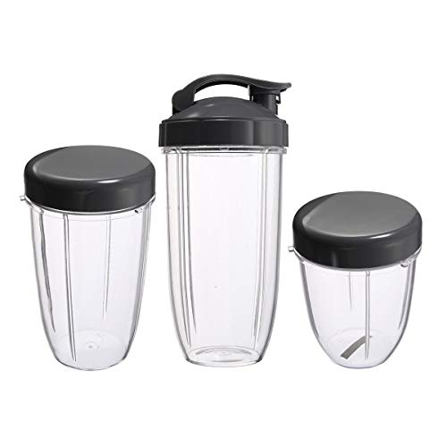 Senmubery Lot de 3 tasses de rechange Colossal de 907,2 g + 680,4 g de haut + 510,3 g de petite tasse + 3 couvercles pour centrifugeuses Nutribullet